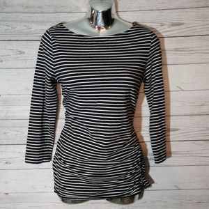 Michael Kors long sleeve black and white striped